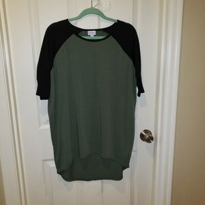 LuLaRoe Irma Tee army Green and Black Size S